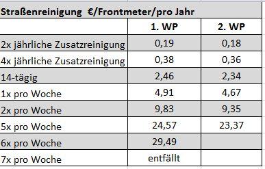 Tabelle mit Aufzeichnung Kosten und Reinigungsrhytmus