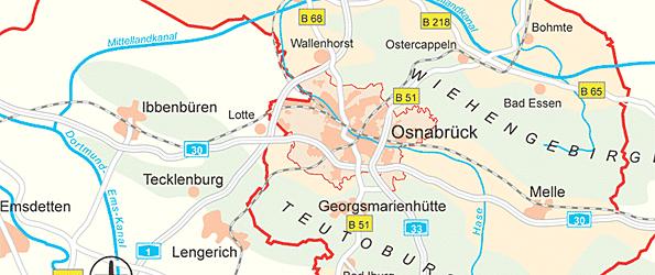 Stadt Essen Karte.Stadt Osnabruck Karten Anfahrtsskizzen Und Buslinienplan